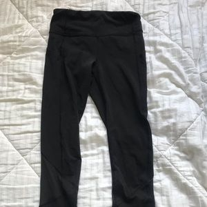 "Black lululemon 5/6"" running leggings, size 2"